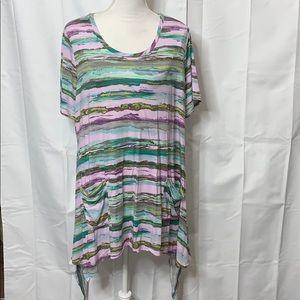 LOGO Lori Goldstein Tunic Size 1X Purples Greens